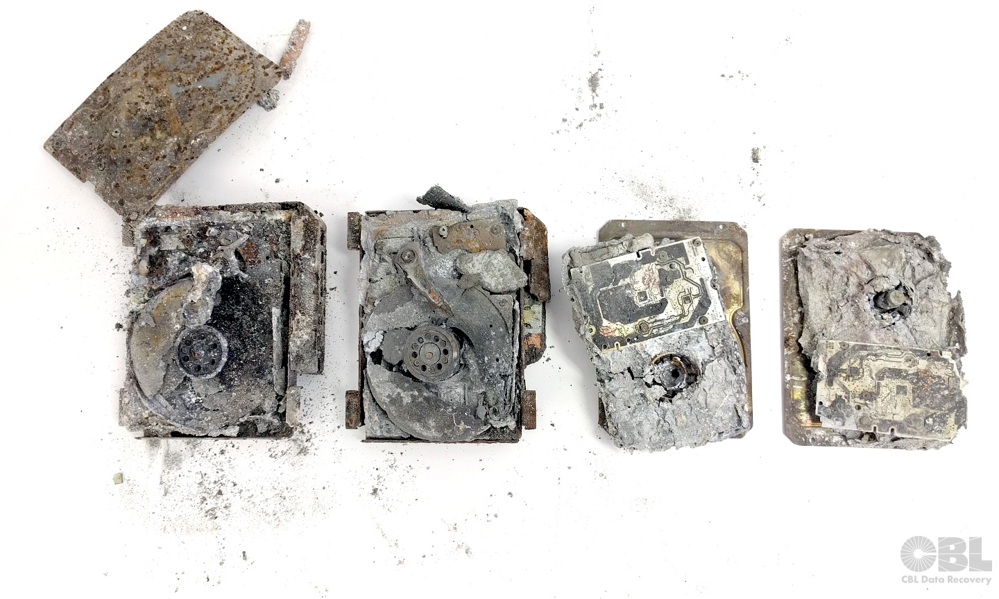 Sometimes the effects of a disaster are too much for recovery - photos of some hard drives destroyed by wildfires in Fort McMurray