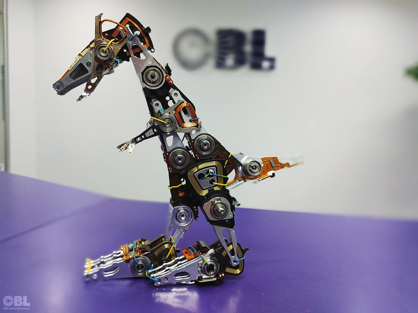 'HDD-Rex: King of the Hard Drives' - dinosaur sculpture made from hard drive parts
