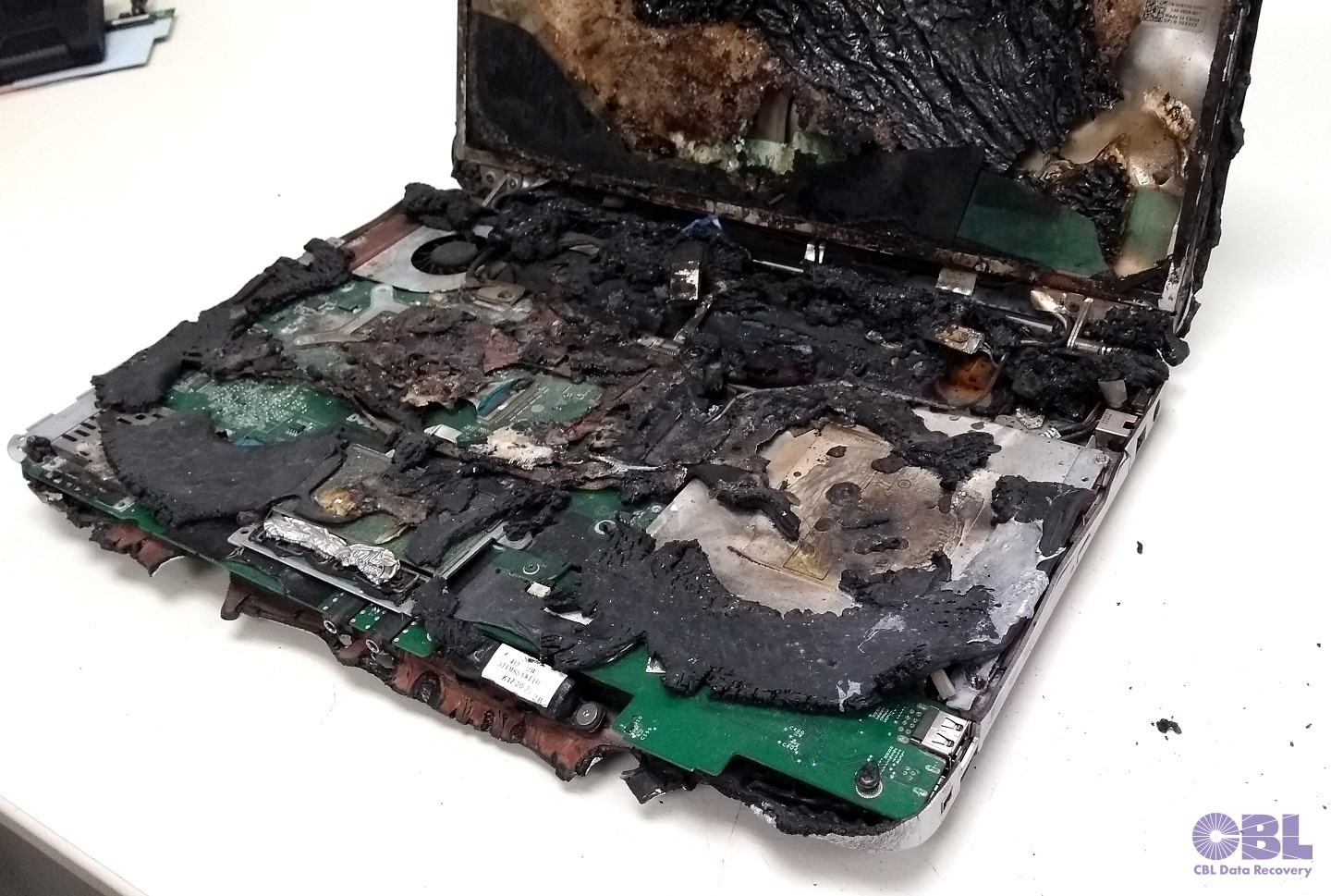 Seen in the data recovery lab: fire-damaged laptop