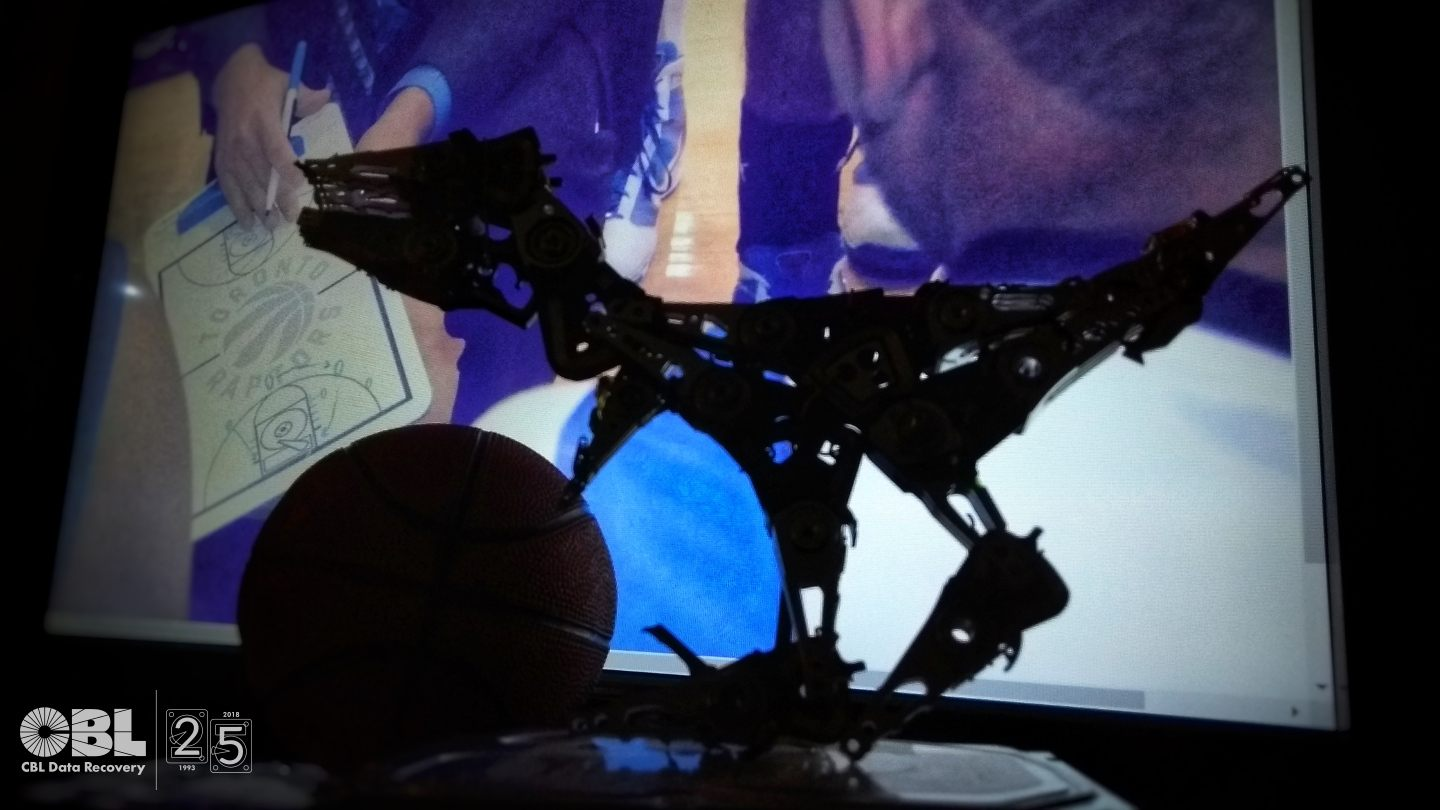 Raptor Made out of Hard Drive Parts - Lab Catches NBA Finals Fever