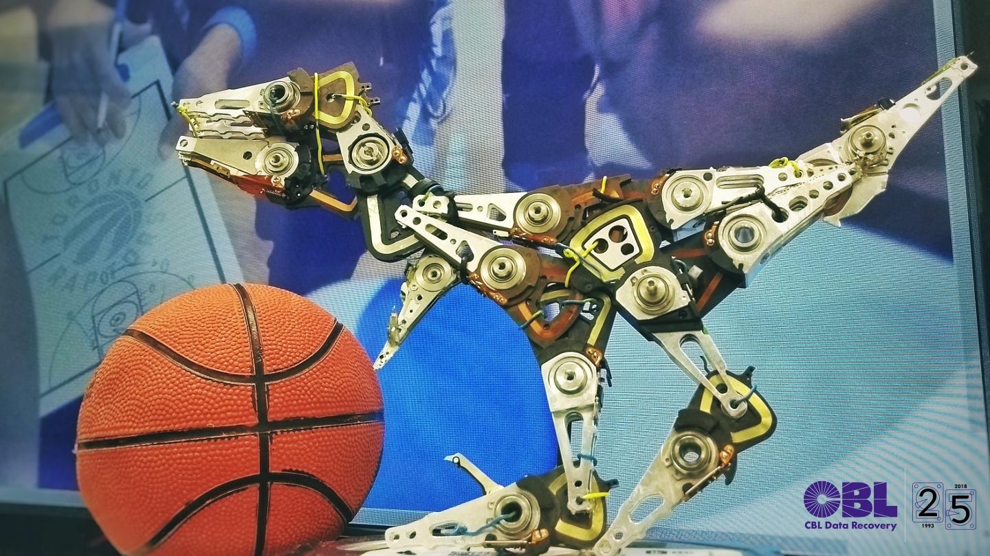 I know this... It's a Raptor sculpture made out of hard drive parts in honour of the Toronto Raptors!