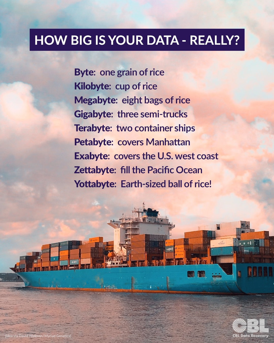 HOW BIG IS YOUR DATA - REALLY? Hattip to David Wellman/Myriad Genetics for the metaphor.