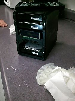 wet water-submerged hard drive NAS device headed to recovery at CBL Data Recovery