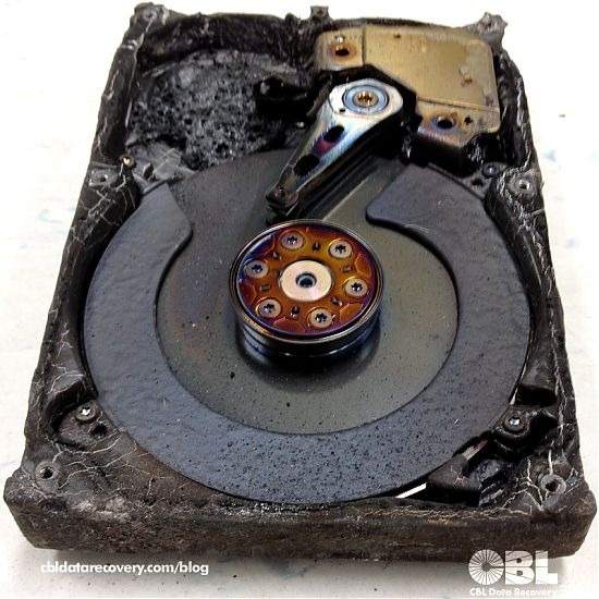 phot of recent fire damaged hard drive in our labs for evaluation